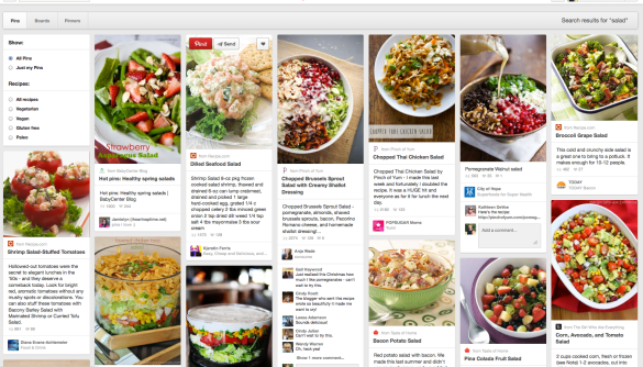 Pinning pictures of salad for lunch inspiration